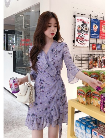 KDS11080221B Ruffle chiffon wrap dress REAL PHOTO