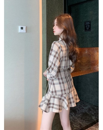 KST11081903B Checker bow skirt set REAL PHOTO