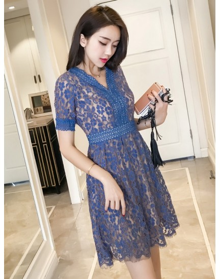 KDS11088996W V neck full lace dress REAL PHOTO