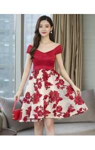 KDS11103618Z Off shoulder embroidery dress REAL PHOTO
