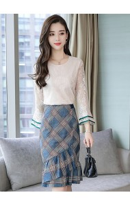 KST11100118Z Trumpet sleeves lace top checker skirt setREAL PHOTO