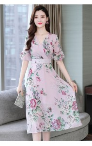KDS11106606Q Plus size floral chiffon dress REAL PHOTO