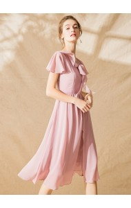 BDS11128067Y Premium chiffon ruffle bow dress REAL PHOTO