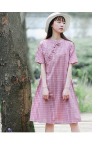 KDS1114215M Checker linen cheongsum PHOTO