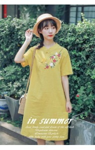 KDS1114898M Embroidery linen cheongsum PHOTO