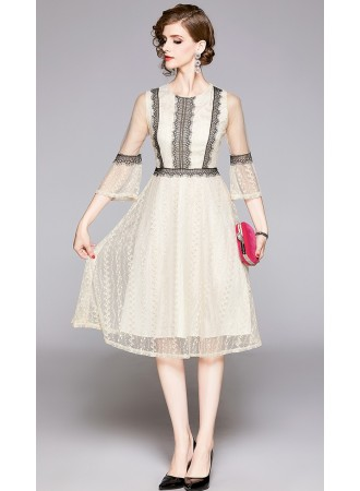 BDS11143485X Trumpet sleeves lace dress PHOTO