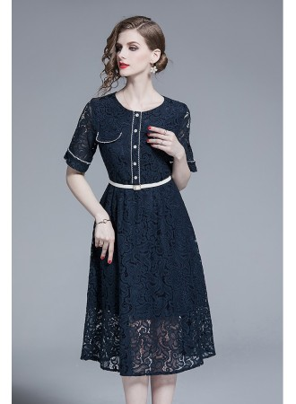BDS11145245X Full lace belted dress PHOTO