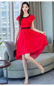KDS11151268X Chiffon ruffle asymmetric dress REAL PHOTO