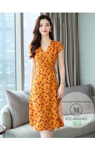 KDS11153309X Floral wrap dress REAL PHOTO