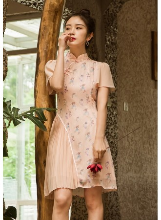 KDS11168638X Trumpet sleeves pleated floral cheongsum REAL PHOTO