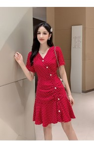 KDS11182618X Polka dot ruffle dress REAL PHOTO