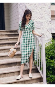 KDS1118868W Checker split dress REAL PHOTO