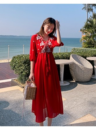 KDS11183289R Embroidery V neck dress REAL PHOTO