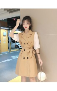 KDS11181029QW PUff sleeves coat dress REAL PHOTO