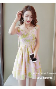 KDS11197299Q Bare back floral chiffon dress REAL PHOTO