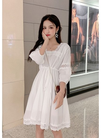 KDS11195086R White lace drawstring dress REAL PHOTO