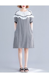 KDS11202545F Plus size checker ruffle dress REAL PHOTO