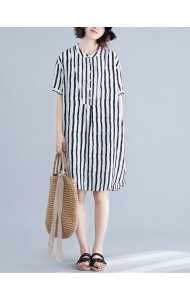 KDS11209045F Plus size stripes dress REAL PHOTO