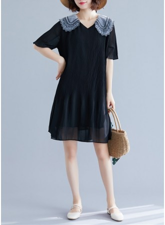 KDS11206145F Plus size pleated dress with embroidery collar REAL PHOTO