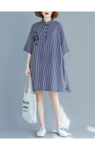 KDS11204735F Plus size stripes shirt dress REAL PHOTO
