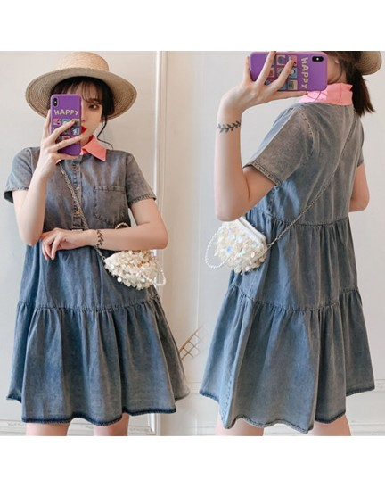 KDS11208118F Plus size denim tiered dress REAL PHOTO