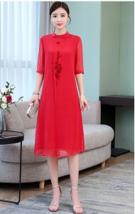 KDS11213698M Plus size embroidery chiffon cheongsum REAL PHOTO