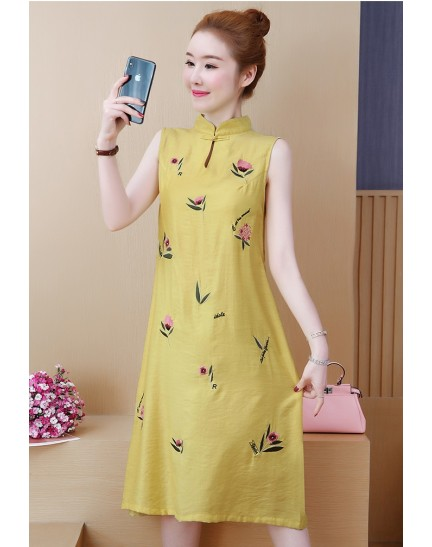 KDS1121539Y Plus size embroidery cheongsum REAL PHOTO