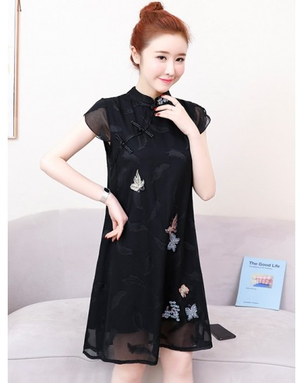 KDS11215729Y Plus size embroidery jacquard cheongsum REAL PHOTO