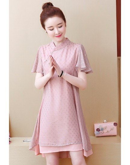 KDS1121869Y Plus size trumpet sleeves layer cheongsum REAL PHOTO