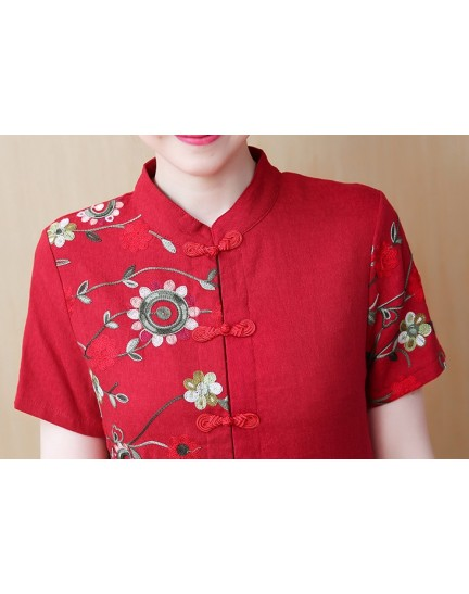 KDS1121269Y Plus size embroidery linen cheongsum REAL PHOTO