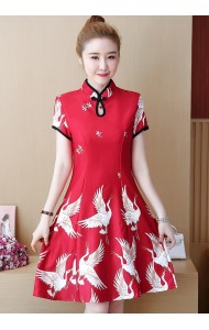 KDS1121739Y Plus siz bird print cheongsum REAL PHOTO