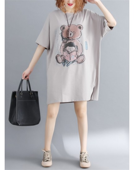 KDS11229205F Plus size bear print dress REAL PHOTO