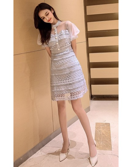 KDS11229618X Mesh shoulder lace dress REAL PHOTO