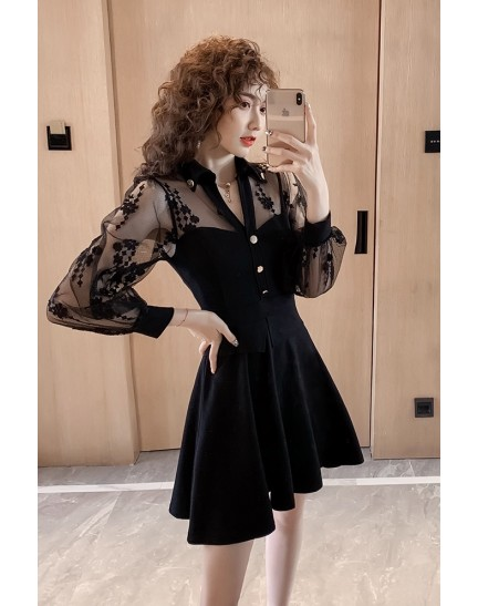 KDS1122268M Lace sleeves V neck dress REAL PHOTO