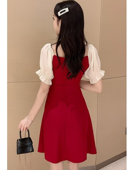KDS11227518X Puff sleeves button dress REAL PHOTO