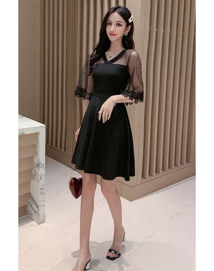KDS11236418X Mesh sleeves revisible dress REAL PHOTO