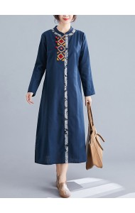 KDS11232306W Embroidery linen cheongsum REAL PHOTO