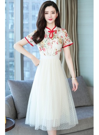 KDS11246395X Lace tulle cheongsum REAL PHOTO