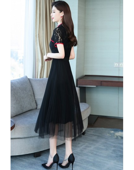 KDS11243195X Lace tulle cheongsum REAL PHOTO