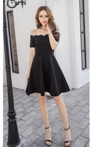 KDS11250088Y Scallop off shoulder dress REAL PHOTO