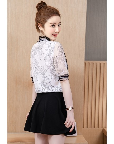 KTP11265538N Full lace blouse with bow REAL PHOTO