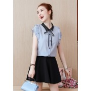 KTP11262638N Ruffle sleeves bow shirt REAL PHOTO