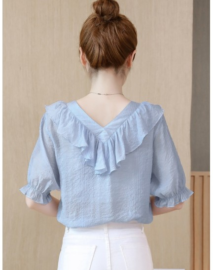 KTP11266918N V neck ruffle blouse REAL PHOTO