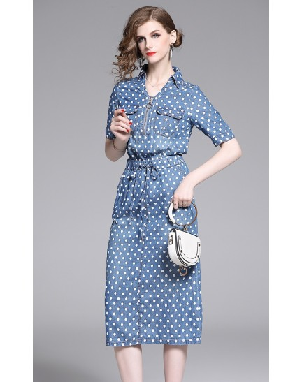 KDS11295003T Polka dot drawstring dress REAL PHOTO