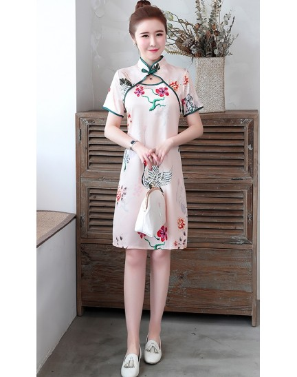 KDS1129199Y Pink floral cheongsum REAL PHOTO
