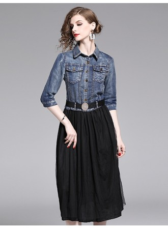 BDS12050912T Denim belted tulle dress REAL PHOTO