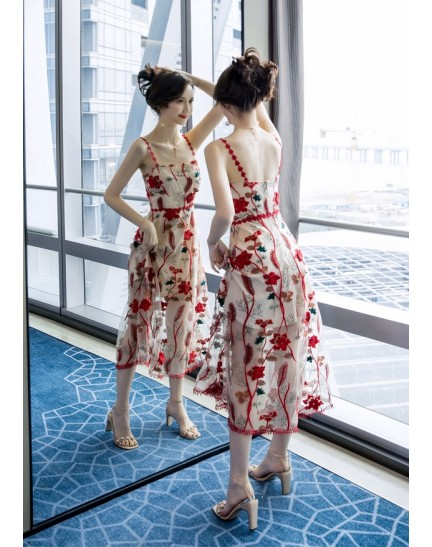 KDS12095801H Premium strappy embroidery dress REAL PHOTO