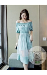 KDS12100309H Off shoulder flared dress REAL PHOTO