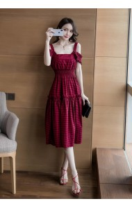 KDS12108301H Premium off shoulder checker dress REAL PHOTO