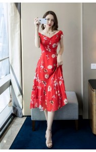 KDS12108708H Premium v neck floral maxi dress REAL PHOTO